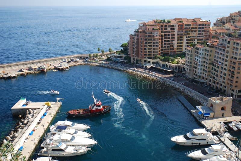 Port DE Fontvieille, overzees, watervervoer, jachthaven, haven royalty-vrije stock foto's