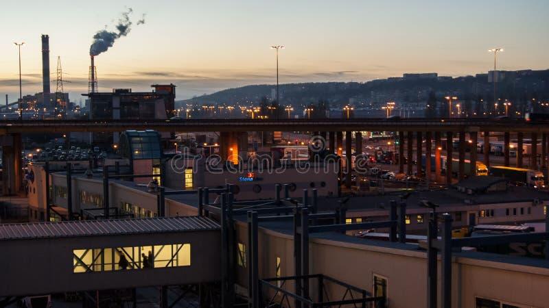 Port de Gdynia au coucher du soleil photos stock