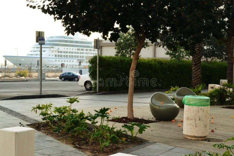 Port de Haïfa, coin salon du campus gauche de Haifa University, ville de Haïfa, le centre ville, Israël photo libre de droits