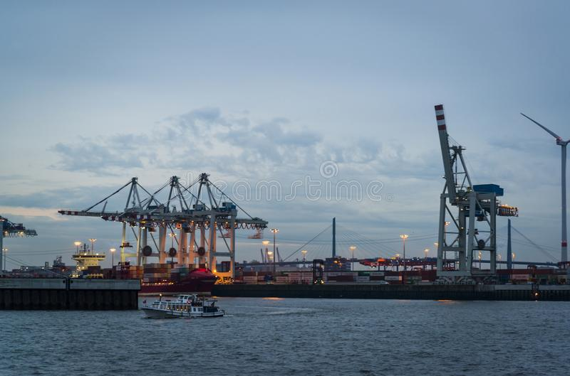 Port de Hambourg sur l'Elbe, Hambourg, Allemagne image libre de droits