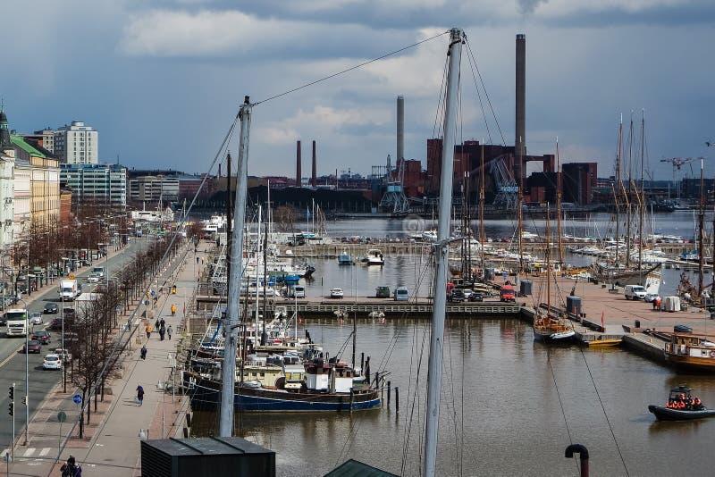 Port de Helsinki au centre historique, Finlande images libres de droits