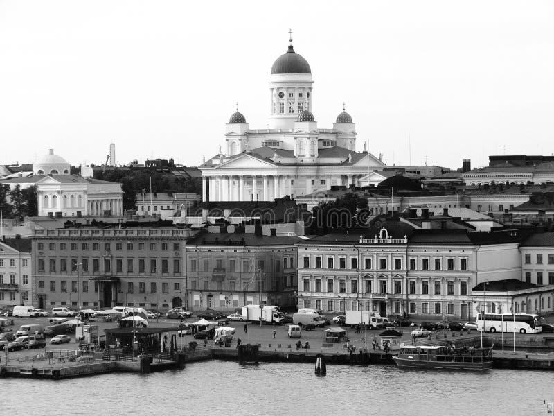Port de Helsinki noir et blanc photographie stock