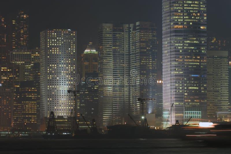 Port de Hong Kong, scène de nuit photos stock