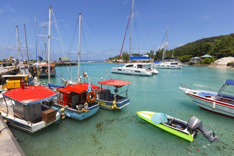Port de La Digue d'île images libres de droits