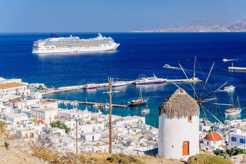 Port de Mykonos d'en haut photographie stock libre de droits