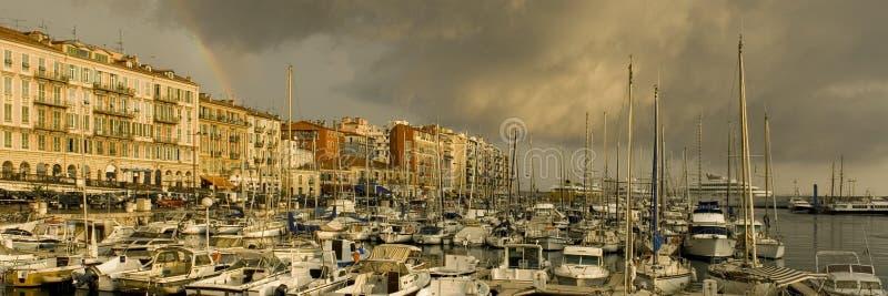 Port de Nice après la tempête photo stock
