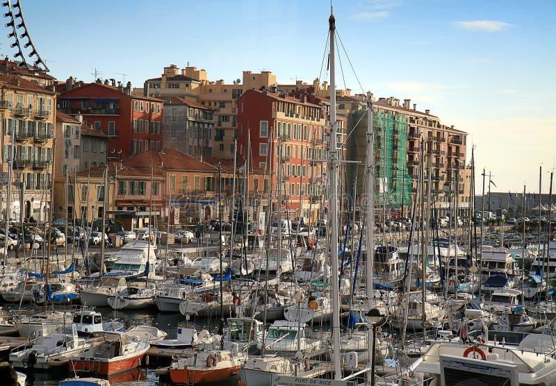 Port de Nice en riviera francesa foto de archivo