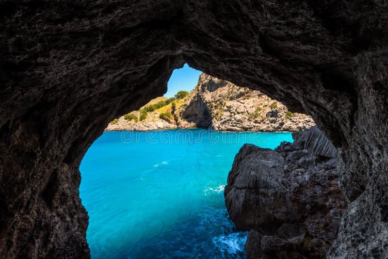 Port de Sa Calobra Mallorca Spanien arkivbilder