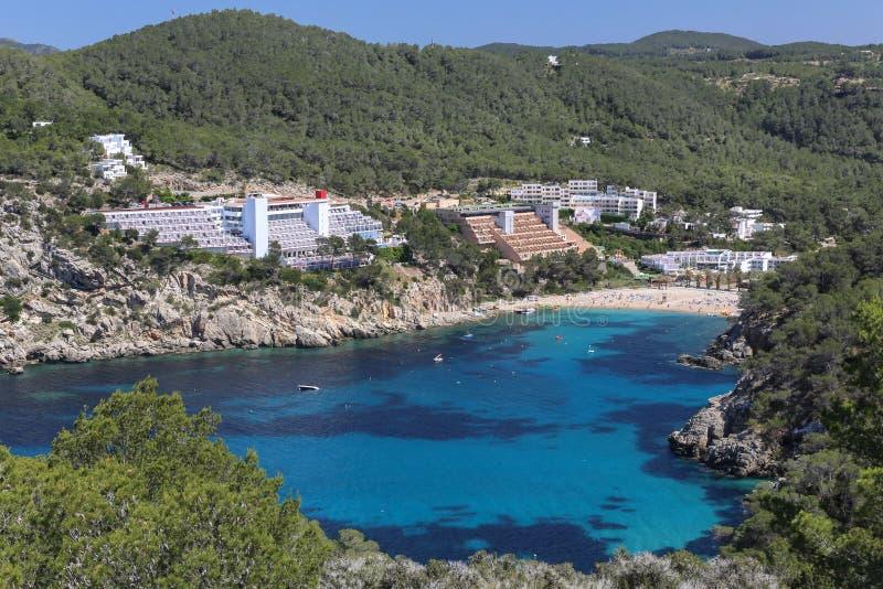 Port de Sant Miquel -旅游镇伊维萨岛 库存照片