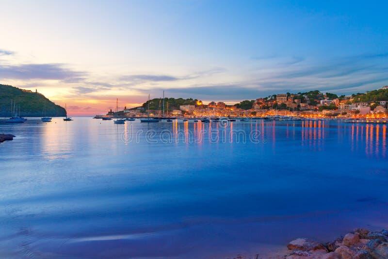 Port de Soller sunset in Majorca at Balearic island stock image