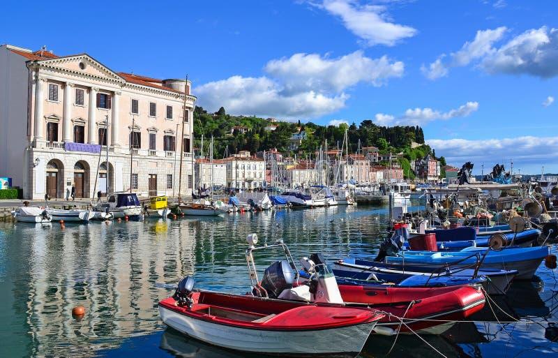 Port de ville de Piran, Slovénie photos libres de droits