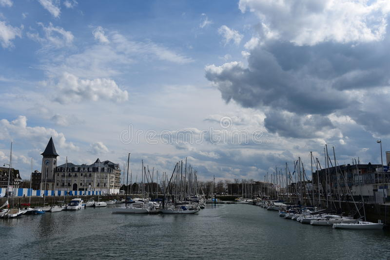 Port of Deauville, Normandy. Port of Deauville in Normandy France royalty free stock image