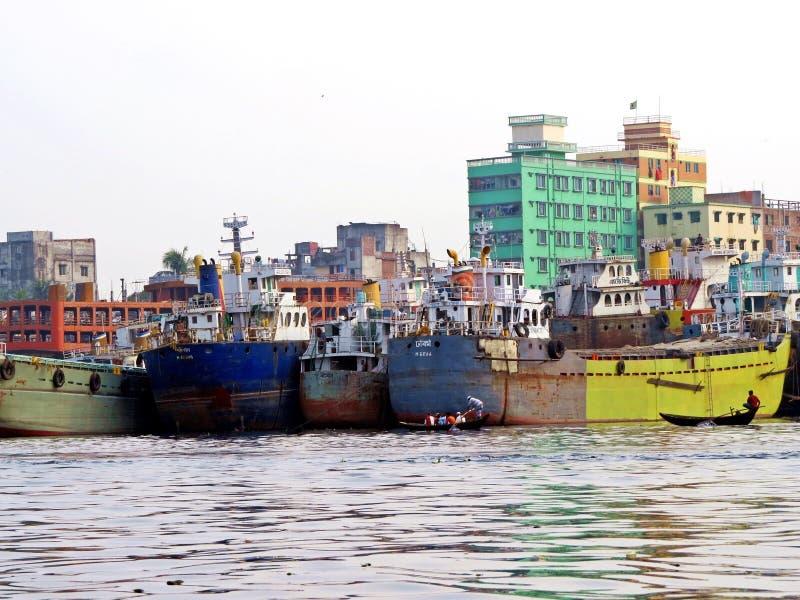 Port Dhaka, Buriganga rzeka, Dhaka, Bangladesz obraz stock