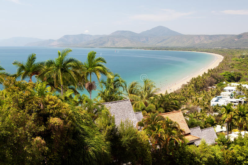 Port Douglas beach on sunny day royalty free stock images