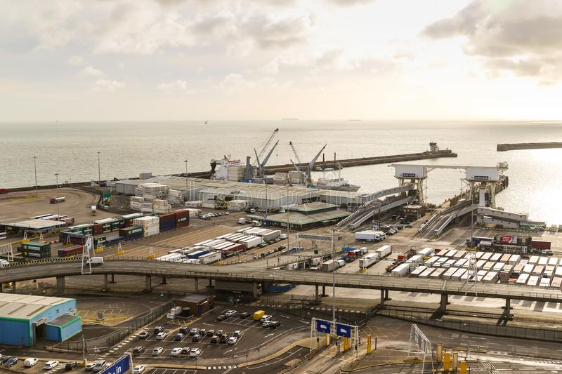 The Port of Dover in Kent United Kingdom. Dover, United Kingdom, 18th January 2019:- A view of the Port of Dover, Kent the nearest British port to France royalty free stock images