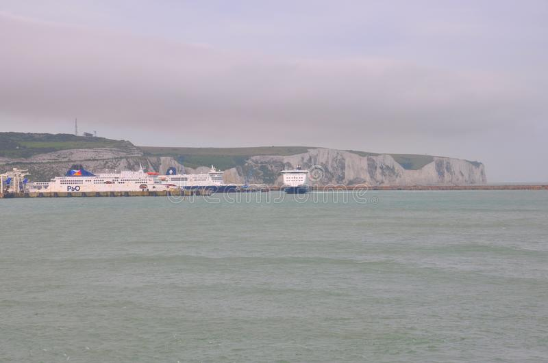 Port of Dover, United Kingdom. Dover is a major ferry port in Kent, South East England. It faces France across the Strait of Dover, the narrowest part of the royalty free stock photography