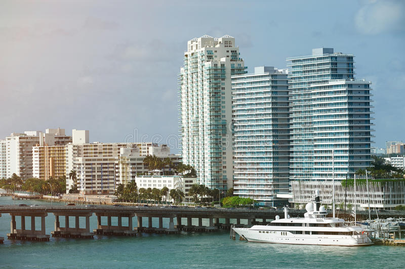 Port in downtown of Miami royalty free stock photos