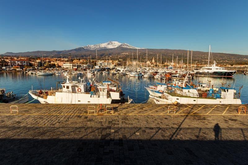 Port du ` s de Riposto, Sicile photographie stock libre de droits