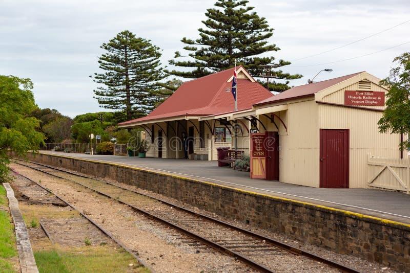 Port Elliot Train Station som lokaliseras på den Fleurieu halvöporten Elliot South Australia på 3rd April 2019 royaltyfri fotografi