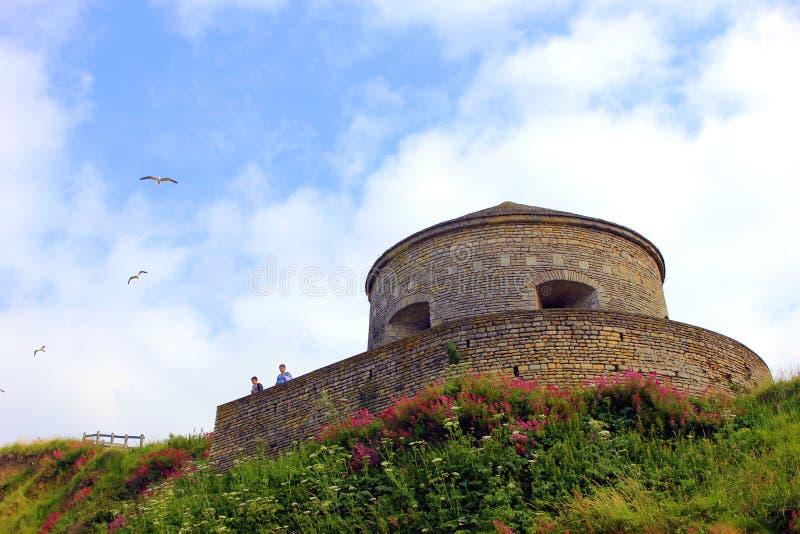 Port en-bessinen i Normandie ett historiskt ställe royaltyfri bild