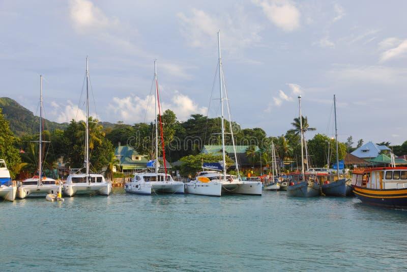Port en La Digue, Seychelles images libres de droits