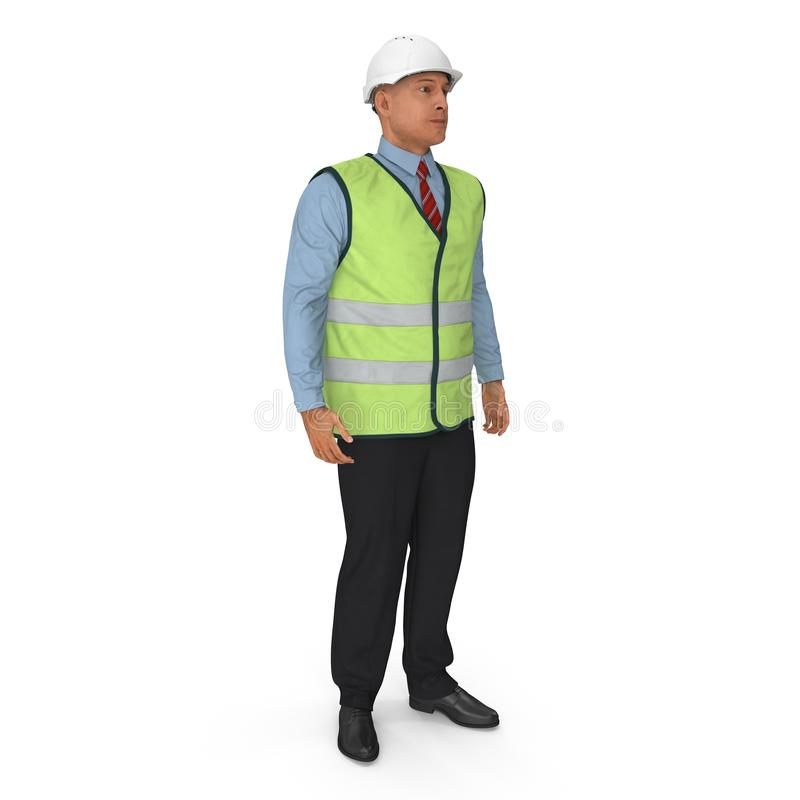 Port Engineer In High Visisbility Jacket Standing Pose Isolated On White Background. 3D Illustration royalty free illustration