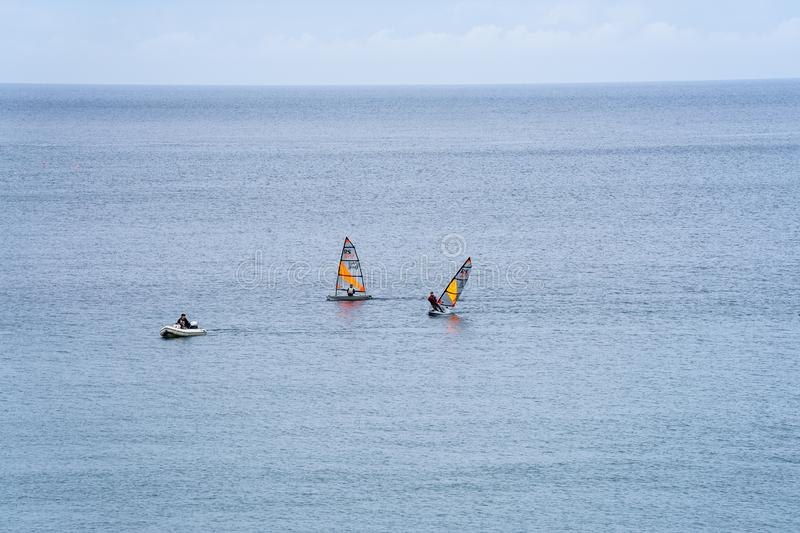 Port Erin, Isle of Man, June 16, 2019. Sailing Squad training at Port Erin Bay stock photography