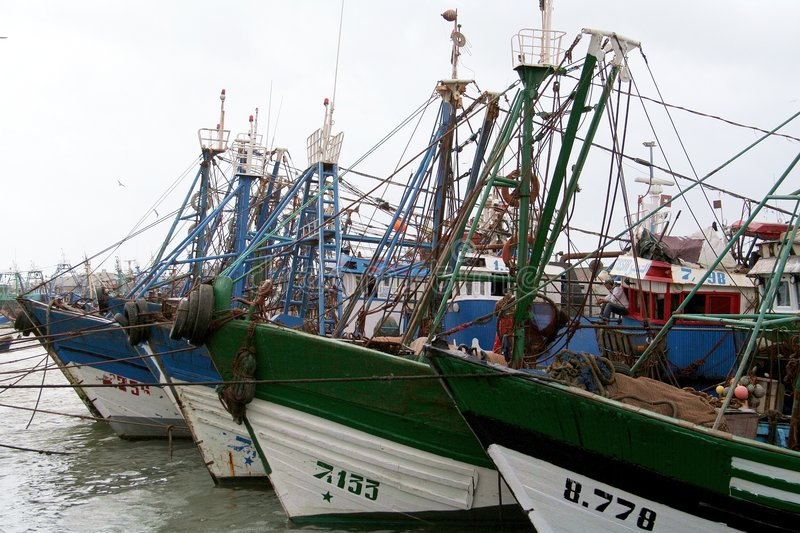 Port in Essaouira #3. View at the fishing boats from port in Essaouira stock image