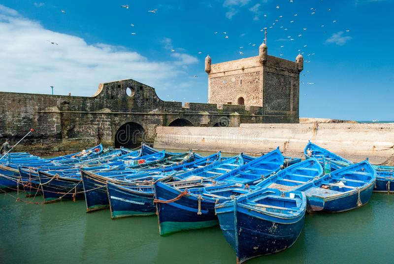 In the port of Essaouira. A fleet of blue fishing boats huddled together in the port of Essaouira in Morocco. You can also see the fortifications and a tower of stock images