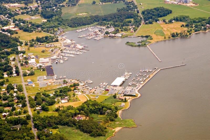 Port et marina de vue aérienne photographie stock libre de droits