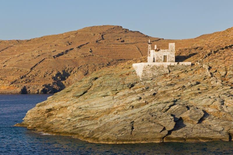 port för merichas för fyr för greece ökythnos royaltyfri foto