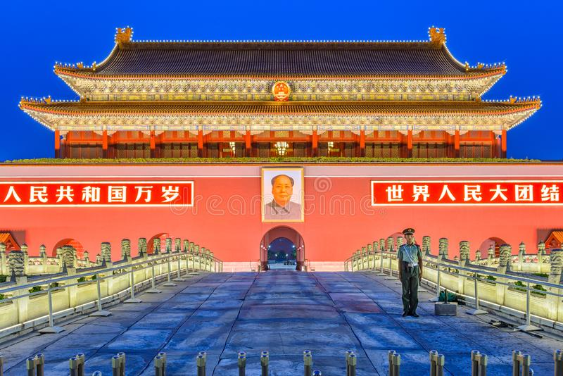 Port för Tiananmen fyrkant i Peking royaltyfria bilder
