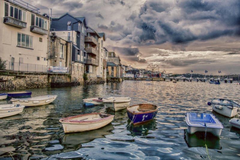 Port Falmouth Cornwall i UK arkivbilder