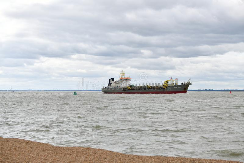 Port in Felixstowe UK, ship dredge royalty free stock image