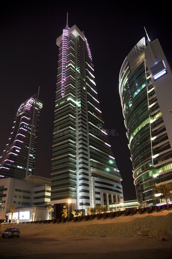 Port financier du Bahrain la nuit, Bahrain images libres de droits