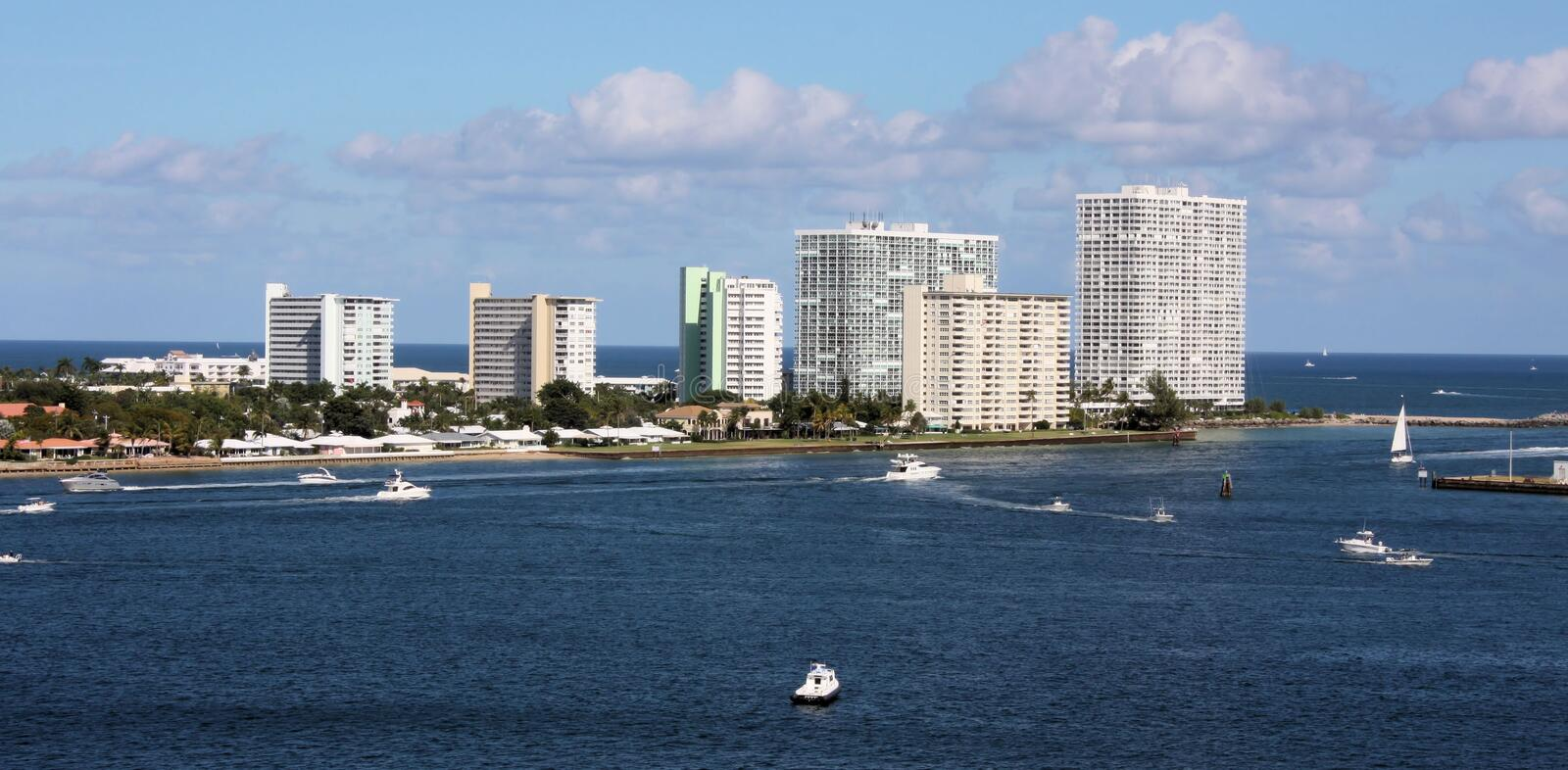 Port of Fort Lauderdale. With hotels, boats and landscape stock photo
