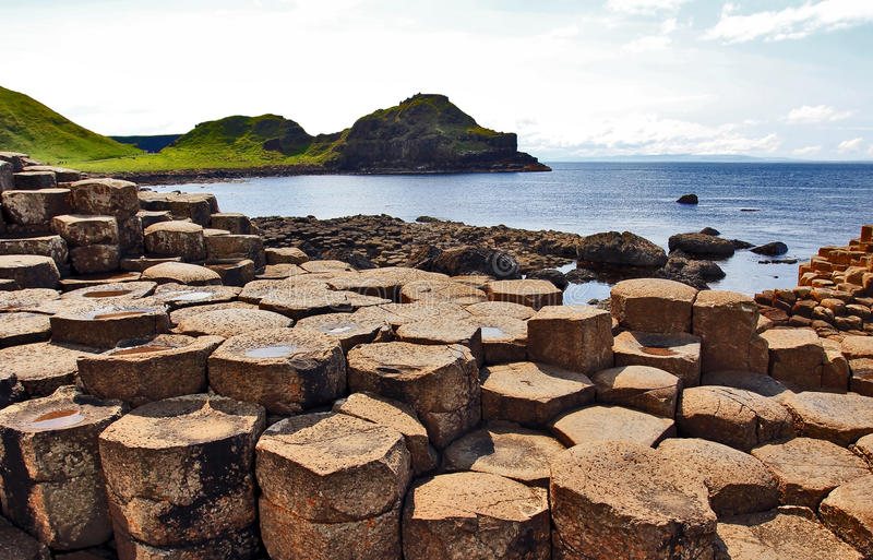 Port Ganny from Giants Causeway. Antrim Coastline, Northern Ireland. The Giants causeway is the most popular tourist destination along the Antrim coast. It was stock images