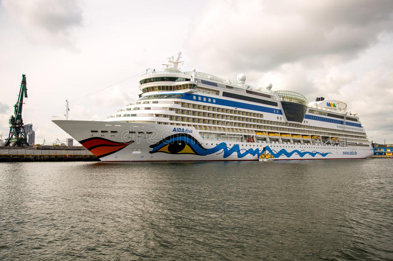 Port of Gdynia. Aida diva cruise ship moored in the port of Gdynia royalty free stock photography