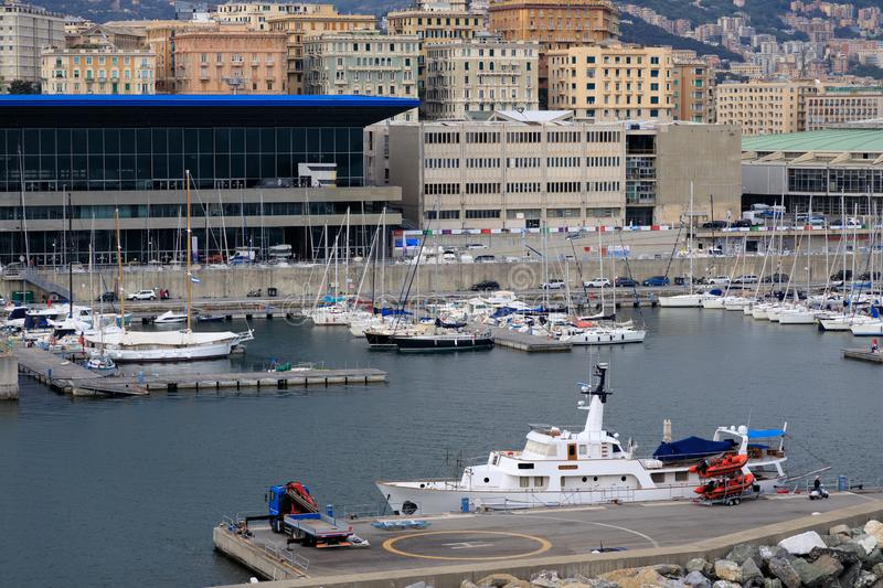 Port at Genoa Italy stock image