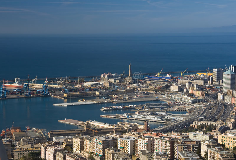 Port of Genoa, panorama. Port of Genoa landscape taken with polarizer filter royalty free stock photos