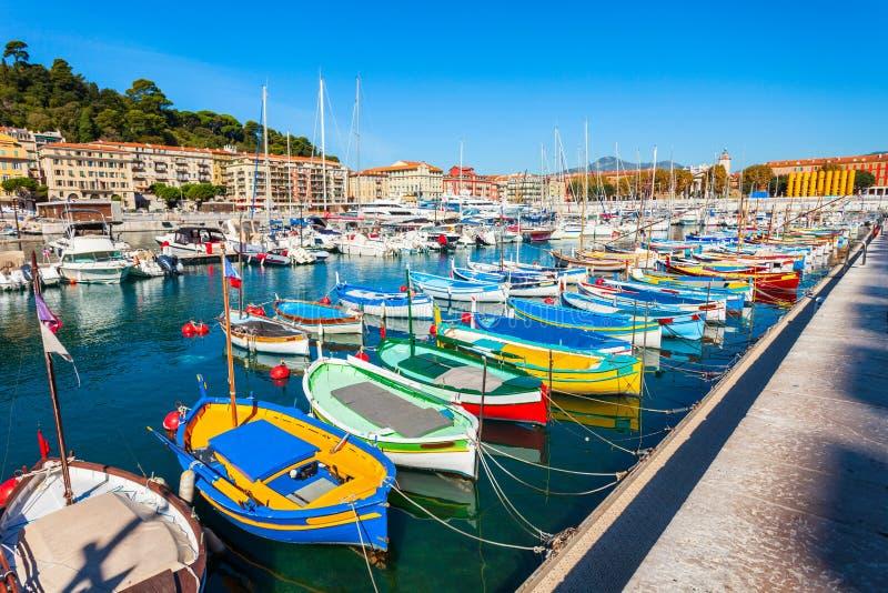 Port gentil avec des bateaux, France photo stock