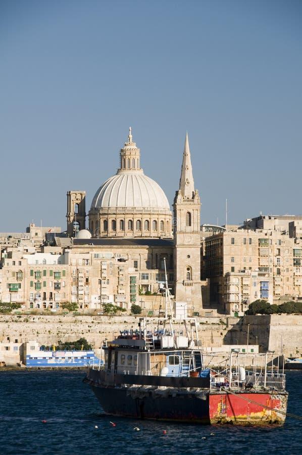 Port grand Malte valletta de constructions historiques photo stock