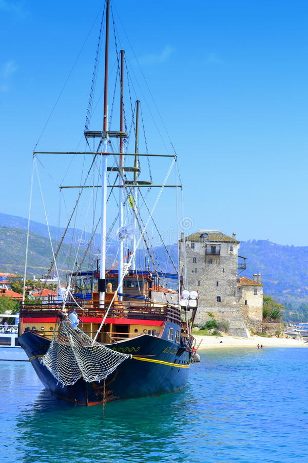 Port Grekland för semesterort för kryssningskepp royaltyfri fotografi