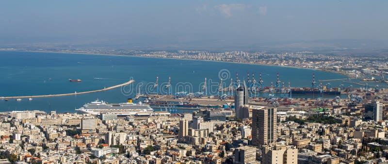 Port Haifa - widok z lotu ptaka zdjęcia stock