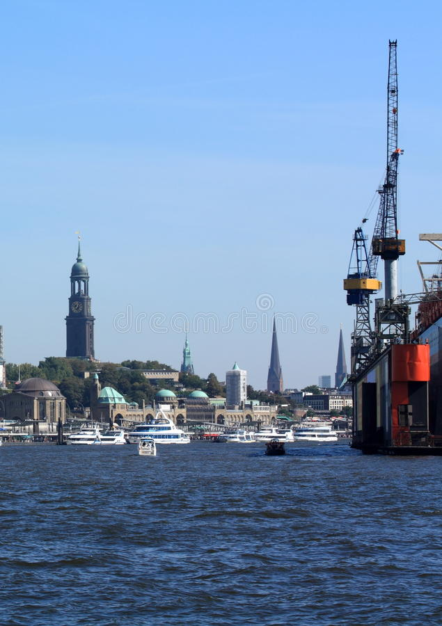Download Port Of Hamburg With St. Michaelis Church Stock Photo - Image: 10990832