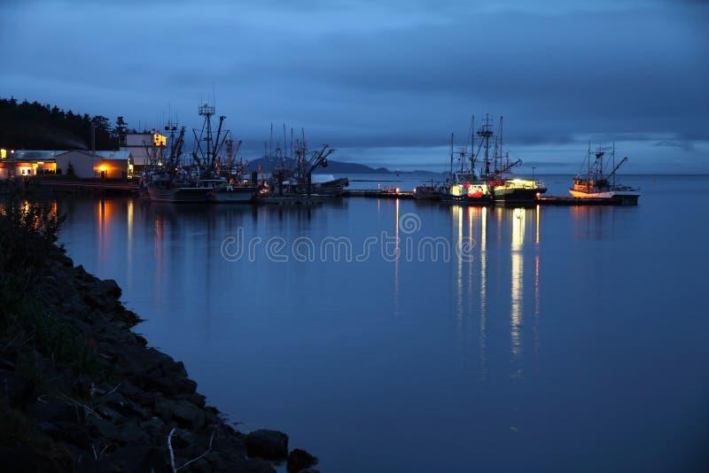 Port Hardy harbor at night stock photos