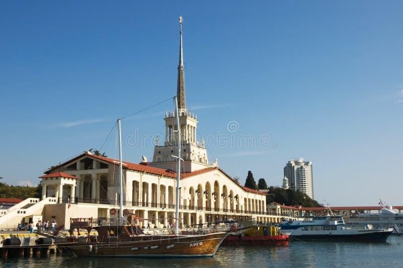 port havet sochi royaltyfria bilder