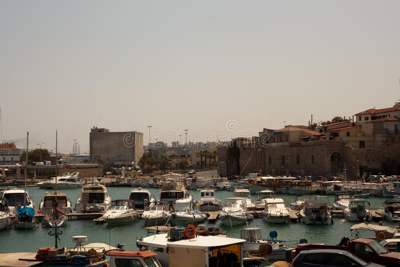 Port of Heraklion stock photo