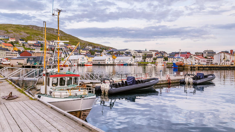 Port of Honningsvag in Finnmark Norway. Base for the cruiseships and tourist as startingpoint for their trip to the North Cape royalty free stock images