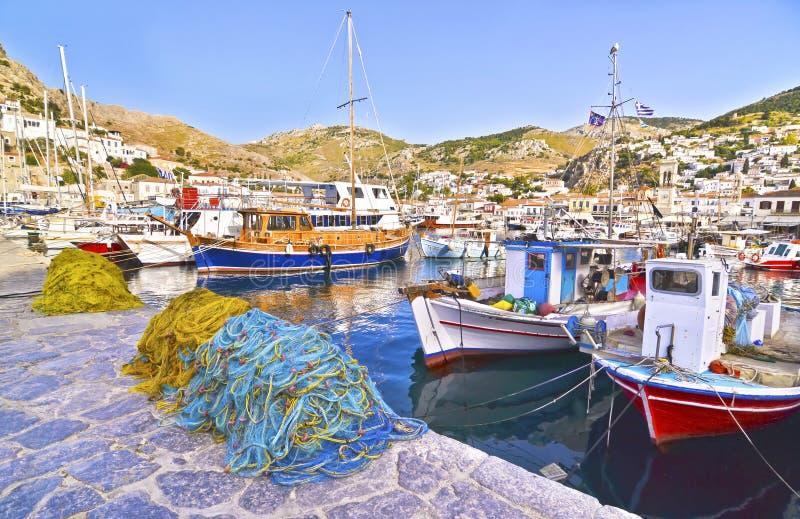 Port at Hydra island Greece stock photo